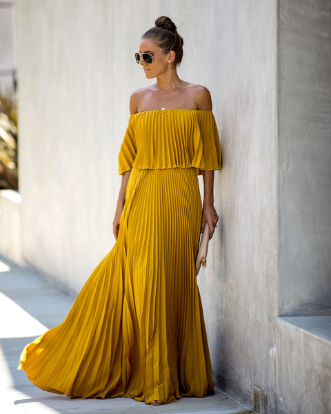 Eternal Love Pleated Maxi Dress - Mustard