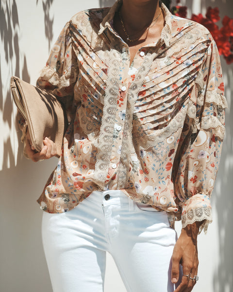 Aurora Floral + Lace Contrast Blouse - FINAL SALE