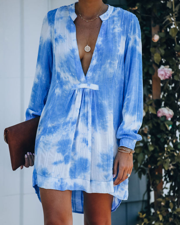 Fly Away Pocketed Tie Dye Tunic - Blue - FINAL SALE