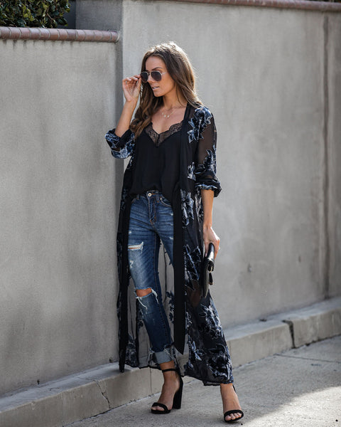 Sonnet Velvet Burnout Duster Kimono - FINAL SALE