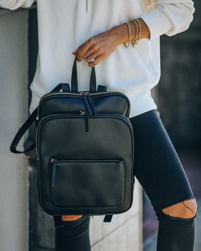 To And From Faux Leather Backpack - Black