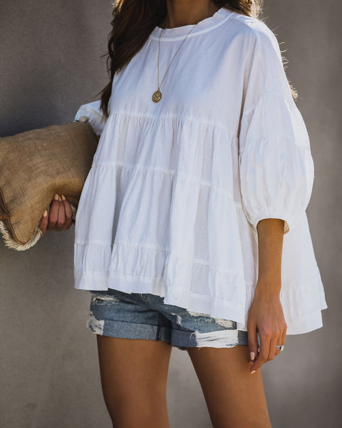 Palmer Cotton Tiered Babydoll Top - Off White