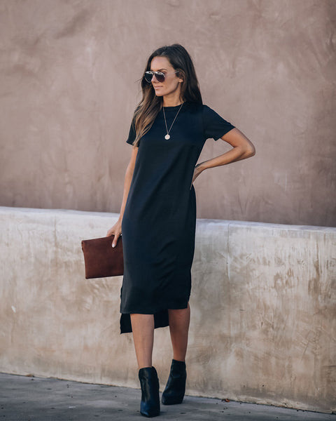 Ringtone Satin Midi Shift Dress - Black - FINAL SALE