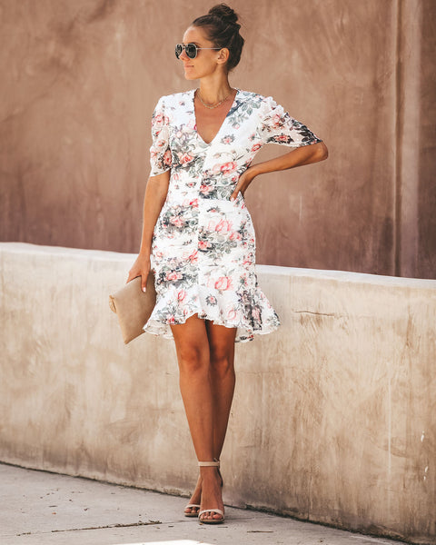 Kiss From A Rose Ruched Ruffle Dress - Off White