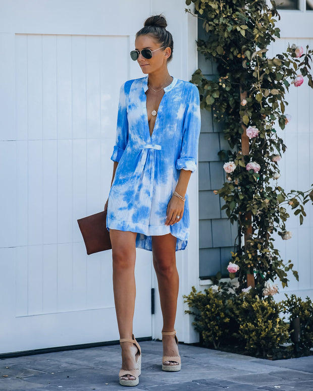 Fly Away Pocketed Tie Dye Tunic - Blue