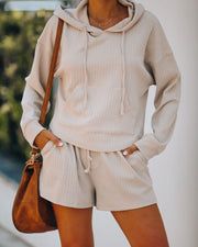 Rowe Pocketed Knit Hoodie - Taupe - FINAL SALE view 10