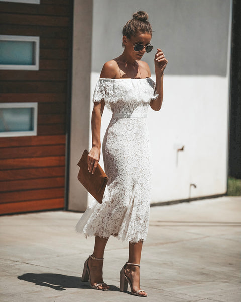Time Stood Still Lace Midi Dress