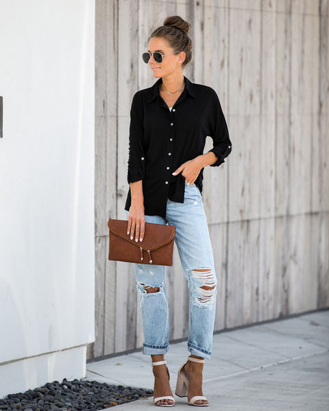 Invaluable Button Down Top - Black - FINAL SALE