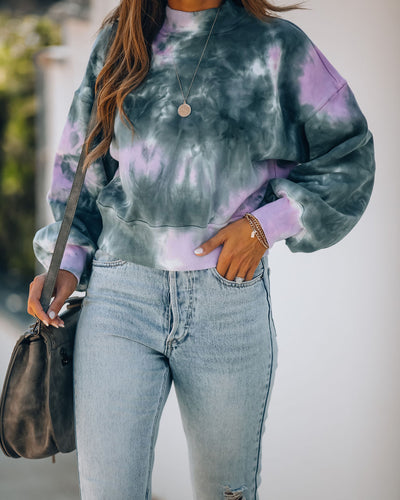 Many Moons Cotton Tie Dye Crop Sweatshirt
