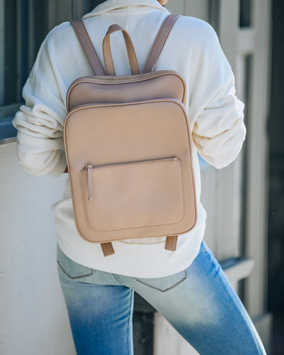 To And From Faux Leather Backpack - Natural
