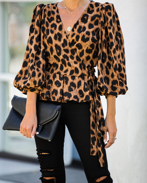 Scout Leopard Wrap Blouse - FINAL SALE