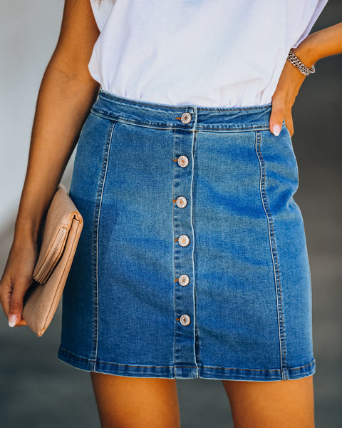 Heading Downtown Button Down Denim Skirt