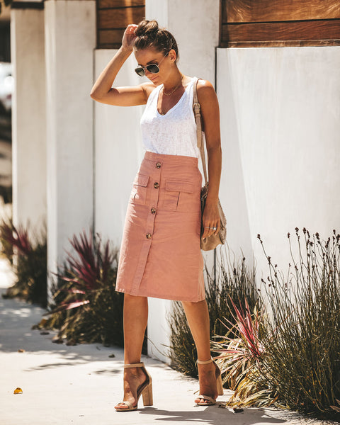 Explorer Cotton Pocketed Midi Skirt - Blush