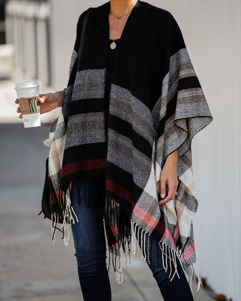 Apple Jack Plaid Fringe Poncho