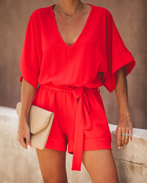 Spring Scene Pocketed Tie Romper - Tomato Red