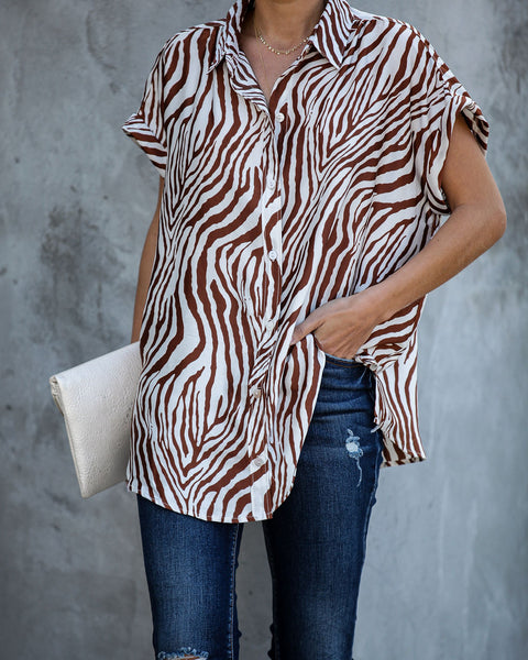 So Fetch Short Sleeve Button Down Blouse - FINAL SALE