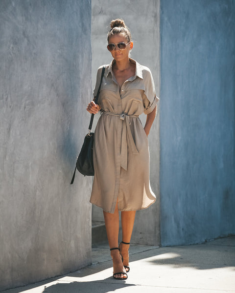 Prime Time Pocketed Button Down Shirt Dress - Latte