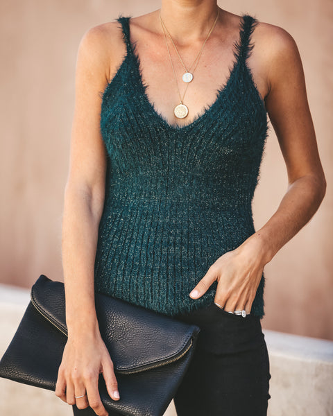 Ice Age Fuzzy Shimmer Knit Tank - Pine Tree