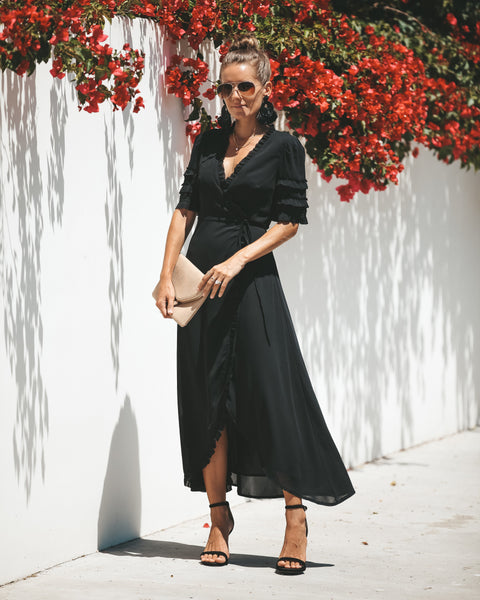 Meant To Be Ruffle Wrap Maxi Dress - Black