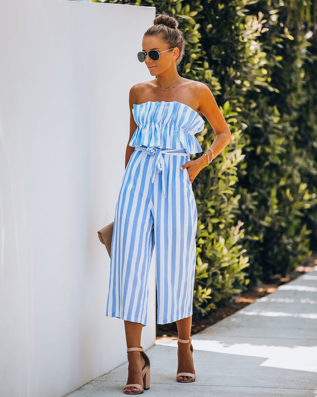 Dorian Pocketed Strapless Striped Jumpsuit