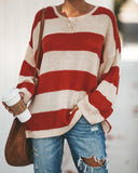 Early Bird Striped Knit Sweater - Rust Red