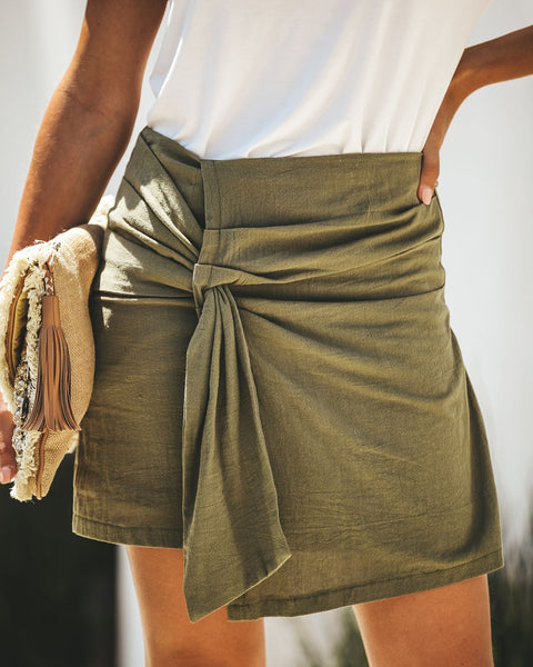 Olive Oil Cotton Wrap Skirt