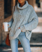 Adirondack Fuzzy Cowl Neck Sweater - Light Grey