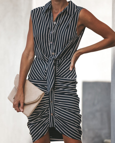 Encounters Button Down Striped Tie Dress