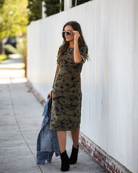At Ease Camo Midi Dress - FINAL SALE