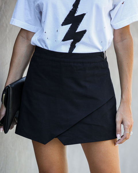 Force Of Fashion Cotton Wrap Skort - Black