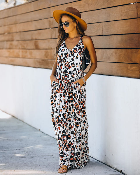 Lowry Pocketed Leopard Maxi Dress