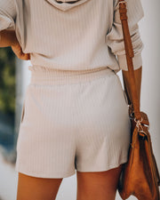 Rowe Pocketed Knit Shorts - Taupe - FINAL SALE view 2
