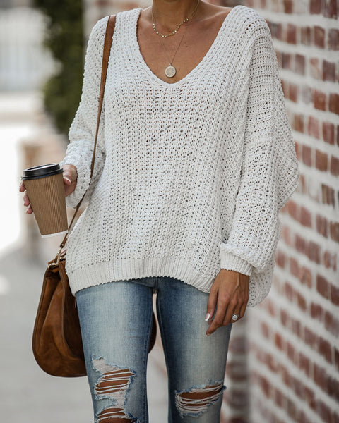 Pinky Promise Cotton Blend Knit Sweater - Ivory