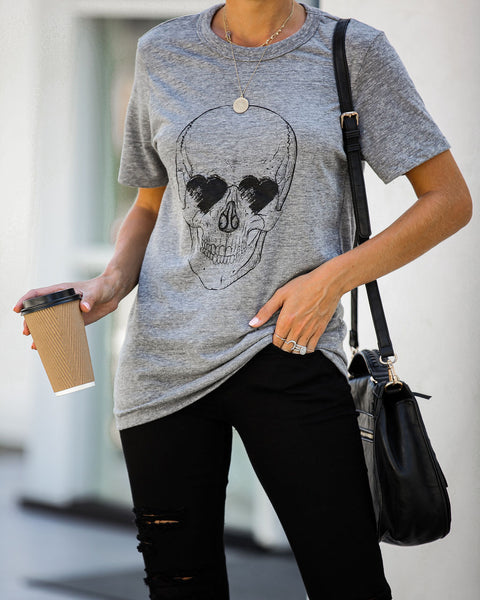 Heart Eyes Skull Cotton Blend Tee