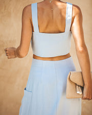 Merriment Button Down Crop Top - Cloud Blue - FINAL SALE