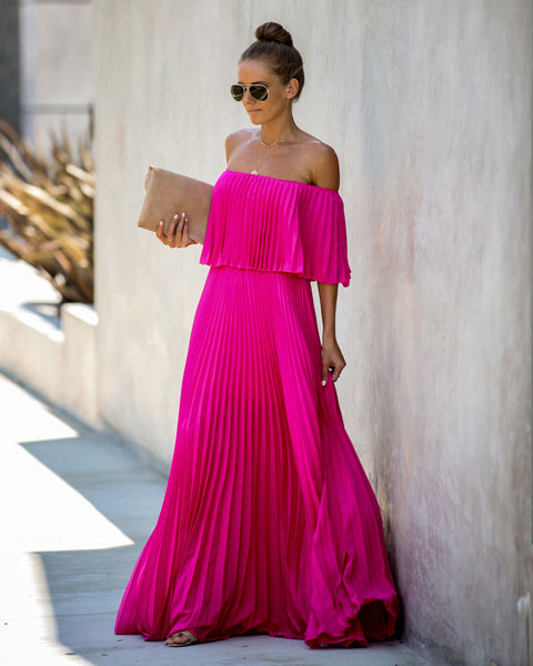 Eternal Love Pleated Maxi Dress - Fuchsia