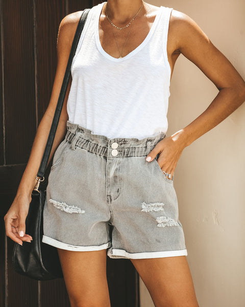 Cloudy Skies Pocketed Paper Bag Waist Denim Shorts