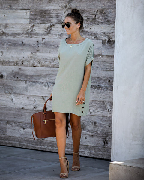 Nuts About You Pocketed Shift Dress - Olive