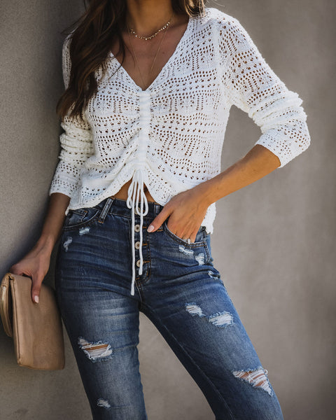Kiss Me Cropped Crochet Knit Top - Cream