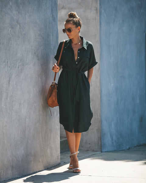 Prime Time Pocketed Button Down Shirt Dress - Charcoal