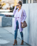 Fireside Pocketed Knit Cardigan - Soft Lavender