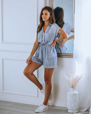 Highways Pocketed Button Down Romper - Slate Blue
