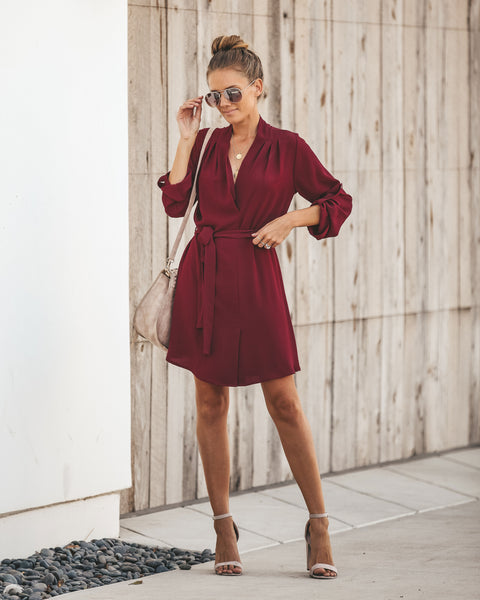 New Haven Tie Dress - Wine