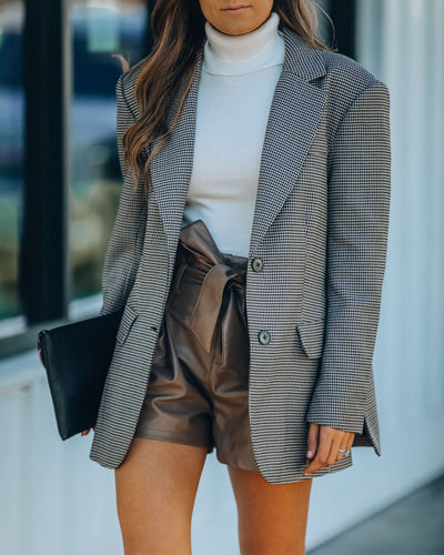 Tailored Pocketed Plaid Blazer