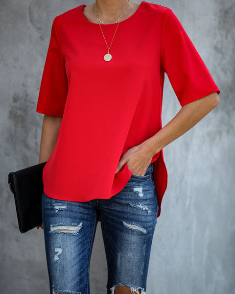 Multitask Short Sleeve Blouse - Red - FINAL SALE