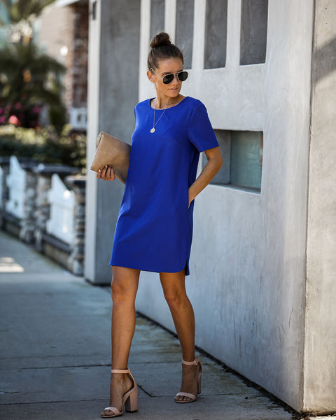 Ambitious Pocketed Short Sleeve Shift Dress - Cobalt