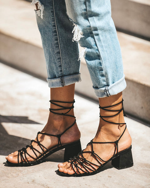Twisty Knotted Wrap Heeled Sandal - Black