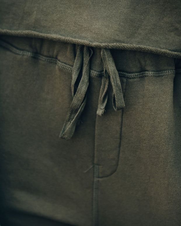 Midtown Cotton Pocketed Distressed Joggers - Olive