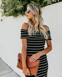 Intriguing Ribbed Off The Shoulder Dress - Black