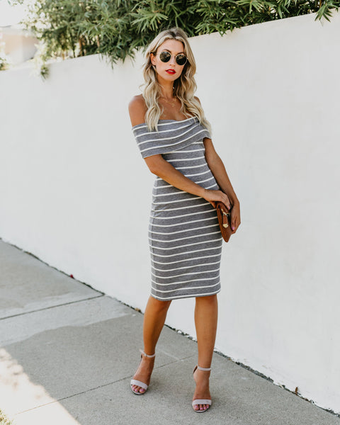 Intriguing Ribbed Off The Shoulder Dress - Heather Grey